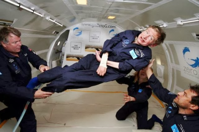 Steven Hawking in the vomit comet