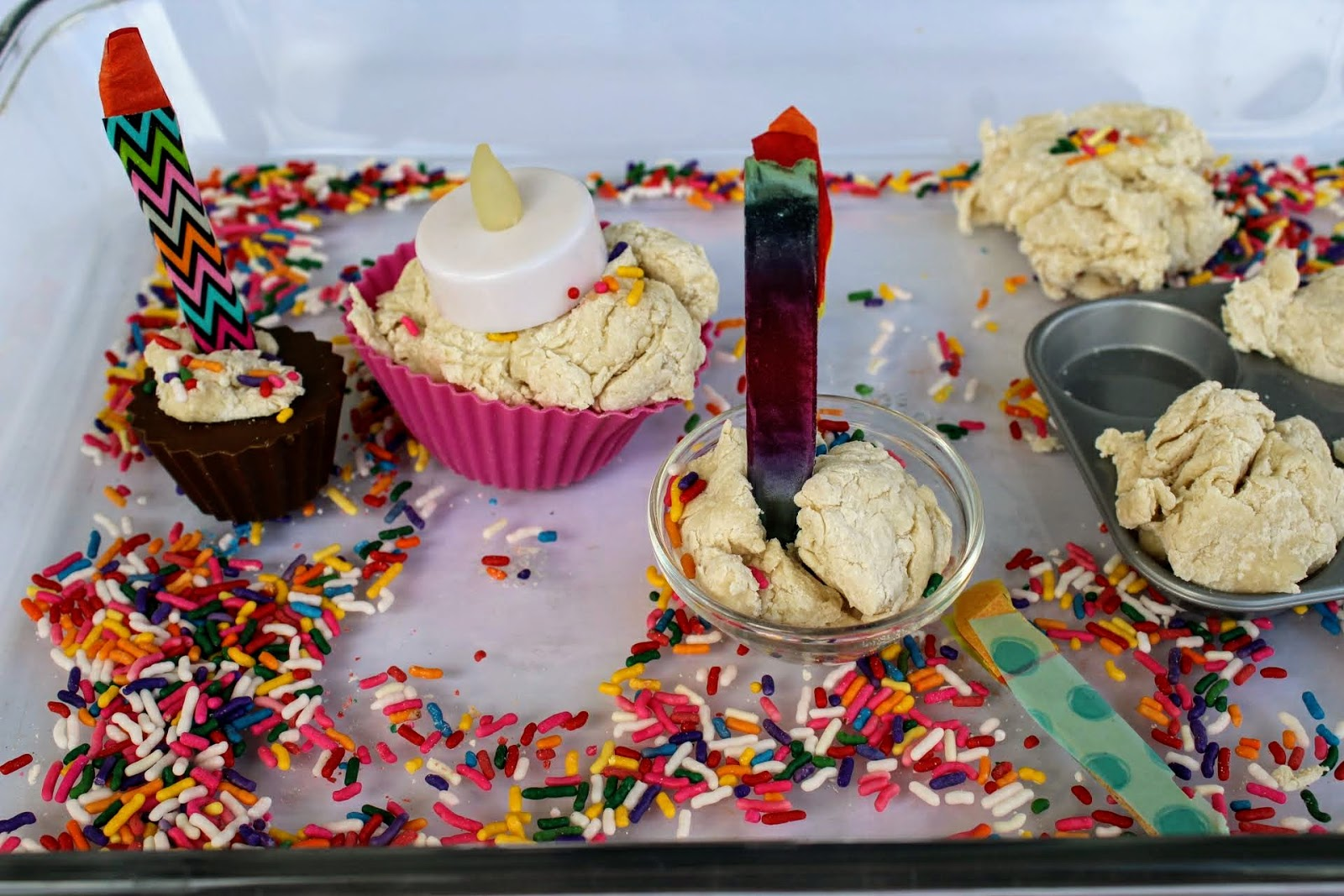 Excellent Crafting Reality With Sara Birthday Cake Sensory Bin Personalised Birthday Cards Veneteletsinfo