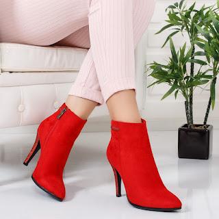 Botine Hobina rosii elegante de ocazii mai speciale