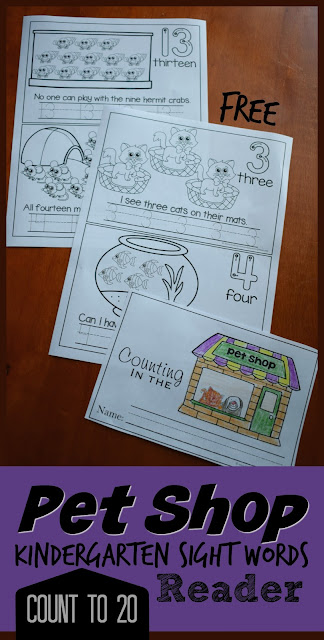 FREE Pet Shop Coutn to 20 Kindergarten Sight Words Reader - these free printable number worksheets are great for not only great for counting and writing numbers 1-20, but also for practicing most kindergarten sight words in an emergent reader (prek, kindergarten, first grade)
