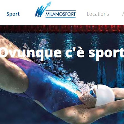 Milan swimming pool organization Milanosport website homepage swimmer underwater bubbles
