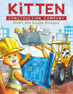 Cover of Kitten Construction Company Meet the House Kittens with a bulldozer in the background and marmelade in construction gear in the foreground holding blueprints for a house.