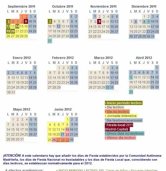 Calendario Escolar Madrid.Calendario Escolar Curso 2011 2012