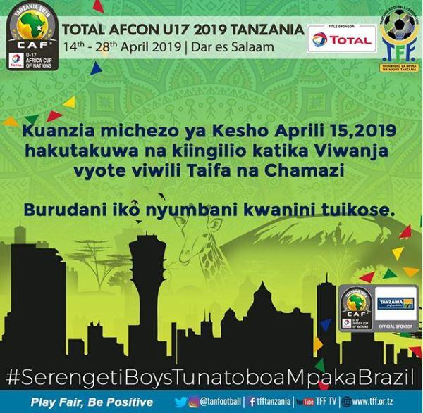 Waziri Mwakyembe 'Hakuna kiingilio mechi zote za Afcon U17, ni bure kuanzia leo Aprili 15'