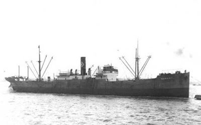 SS Margot, sunk by U-588/Vogel, men given uncorked rum bottles on a string, rescued