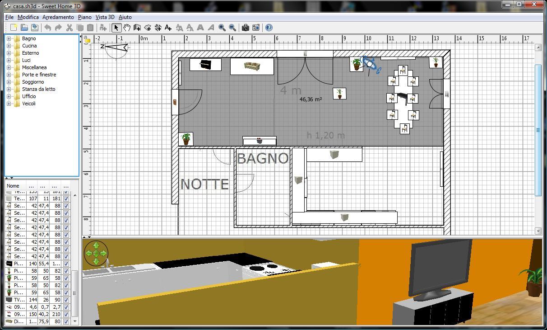 Prove di progettazione con sweethome 3d for Programma arredamento 3d