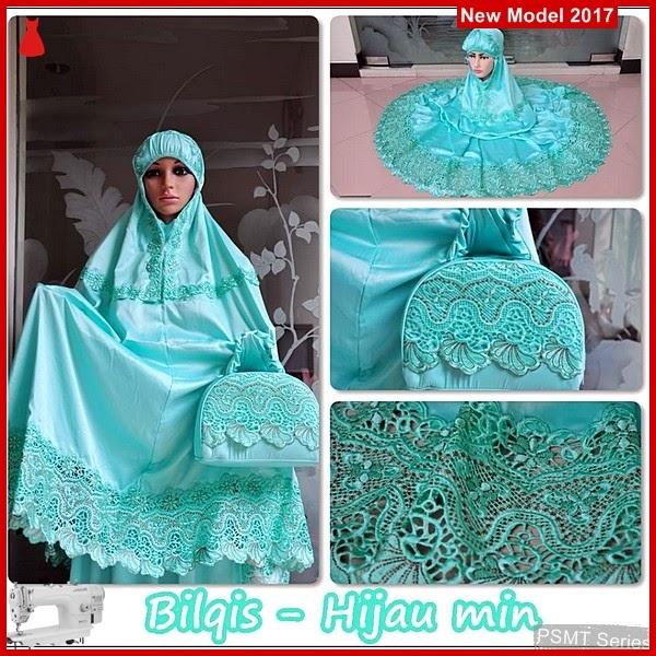 PSMT119A Mukena Velvet Lace Bilqis Hijau Mint Klungkung