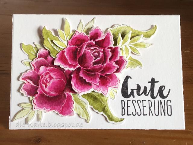"""""""Peony Bouquet"""" Stamps and Dies Altenew, """"Gute Besserung"""" Klartext Stempel"""
