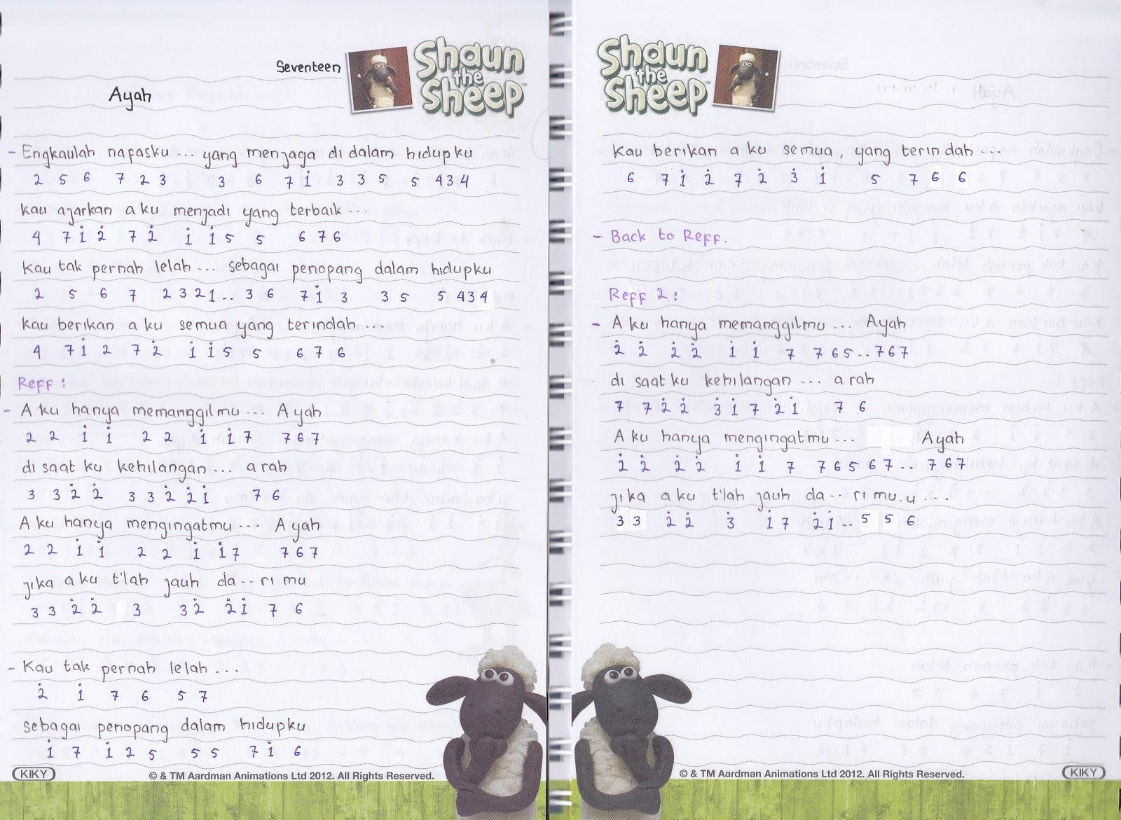 Catatan Not Lagu Seventeen Ayah Piano Pianika Pemula Cute766