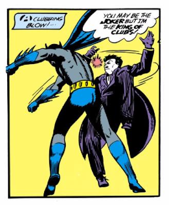 Batman (1940) #1 Page 12 Panel 3: Batman puns as he strikes The Joker.