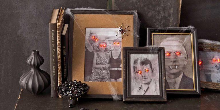 diy para decorar en halloween con fotos paranormales terrorificas de miedo y luces led fácil y económico