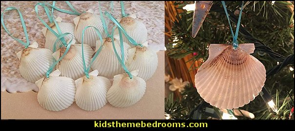 White Glitter Seashell Christmas Ornaments with Turquoise Ribbon  Coastal Christmas decorating theme - coastal Christmas decor - beach christmas  - Beach Christmas Decorations  - seaside decor - coastal ornaments - beach themed Christmas decorations - beach themed christmas tree -  sea themed ornaments -  nautical accents - beach themed ornaments - coastal Christmas tree skirts - beach & seaside decorations - nautical Christmas decor - Nautical Holiday decor - coastal christmas ornaments