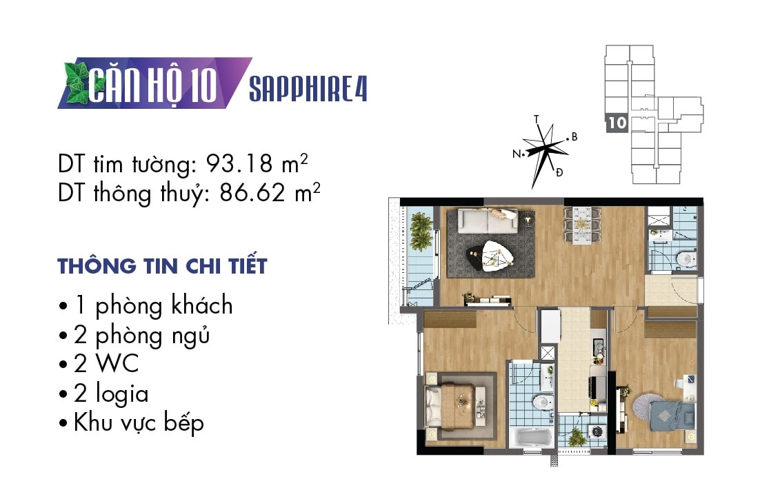 Mặt bằng căn hộ 10 Sapphire 4
