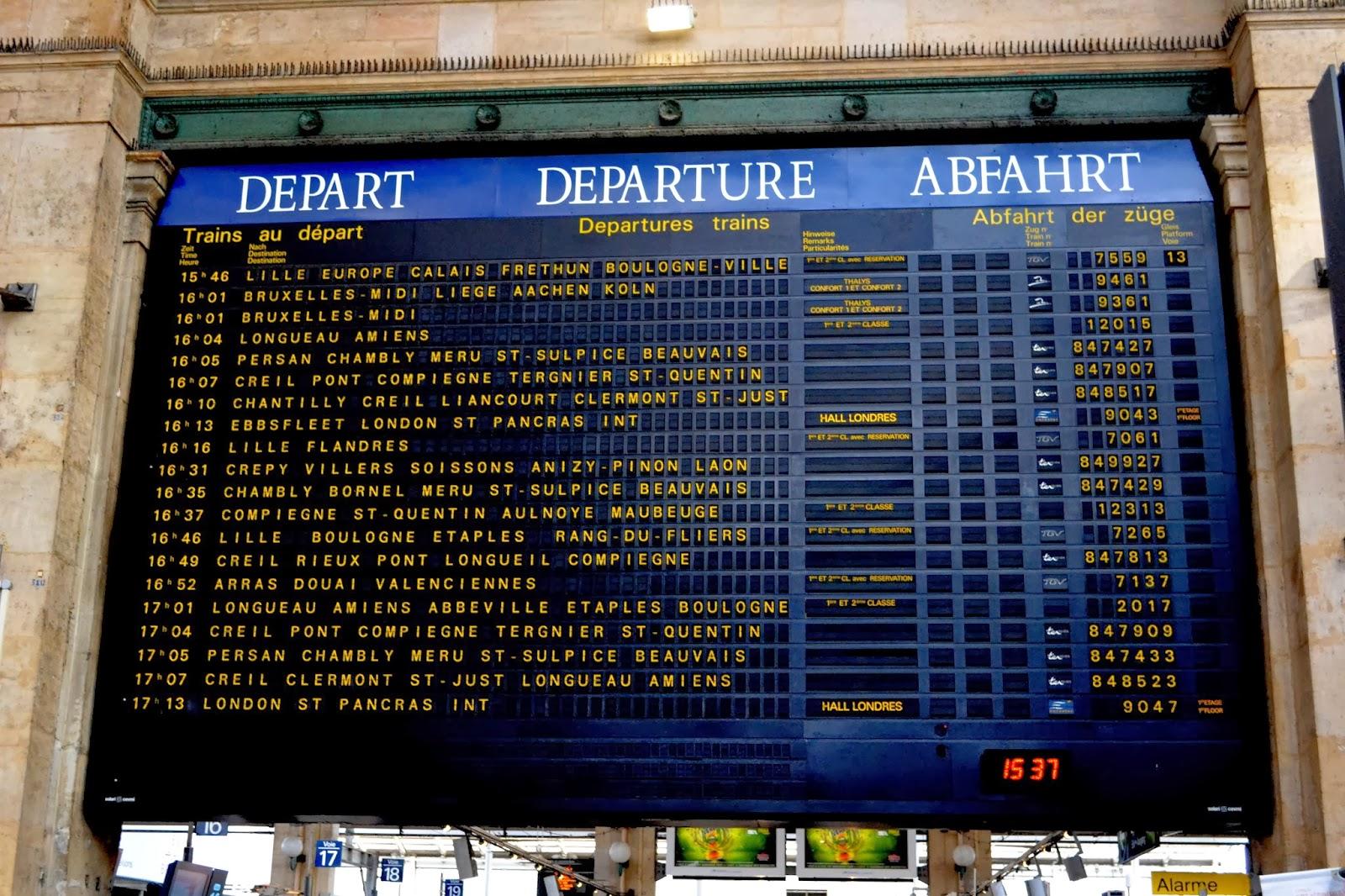 Departure Board at Gare du Nord, Paris