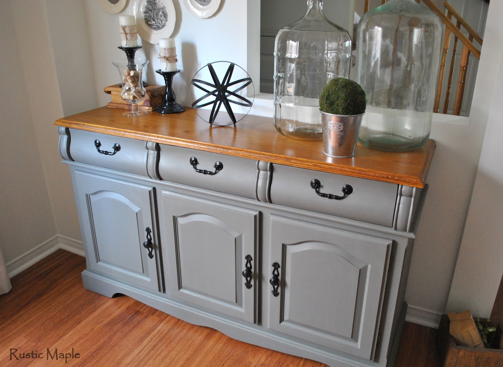 How to paint a vintage buffet home stories a to z - Painted Buffet In Country Chic Paint S Cobblestone