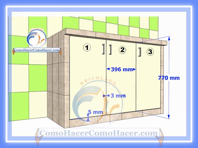 Cocina mesada de concreto guía detallada para colocar puertas