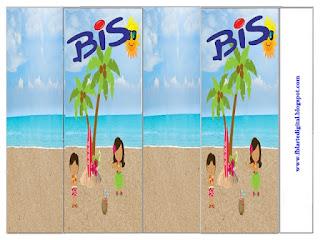 Etiquetas de Fiesta Hawaiana de Chicas para imprimir gratis.