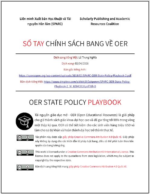 'Sổ tay chính sách bang về OER' - bản dịch sang tiếng Việt