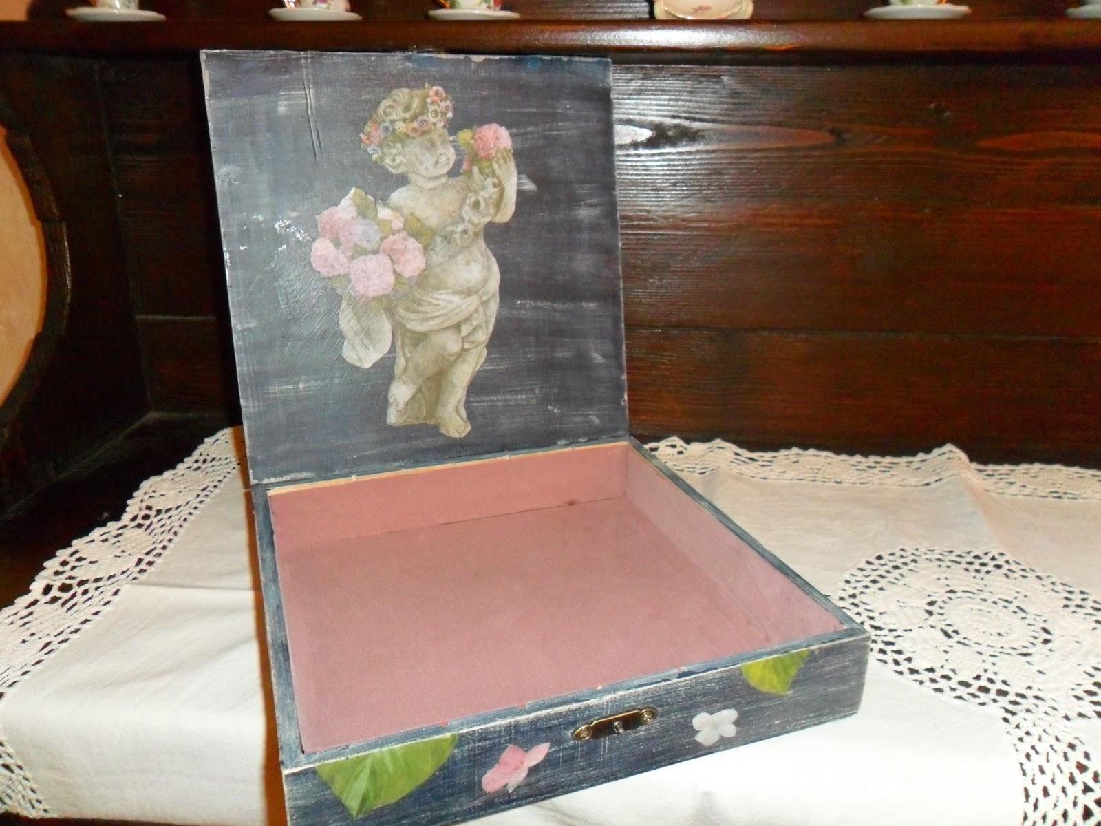 Il mercatino di zia lella decoupage ortensie su scatola for Foderare una scatola