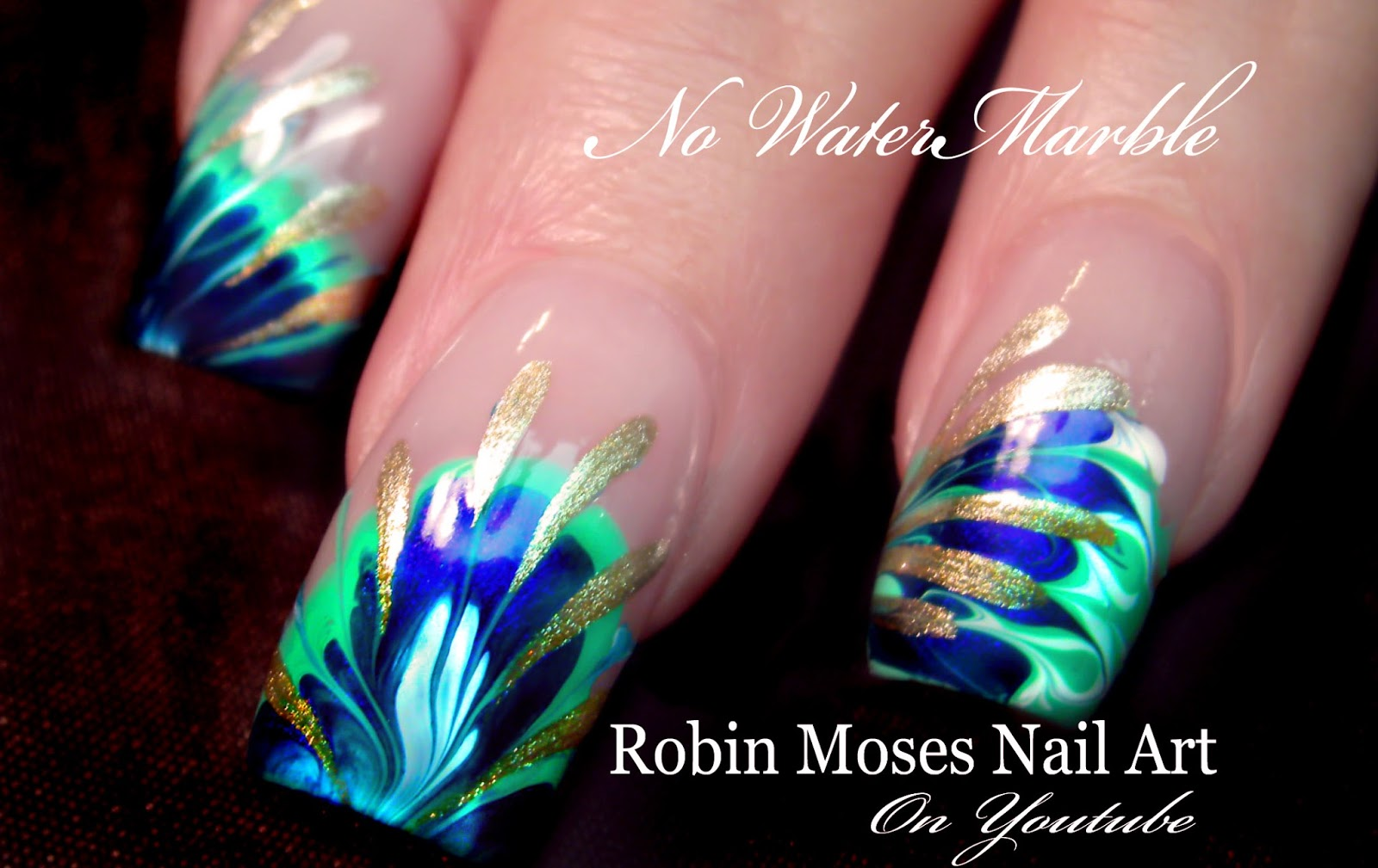 Nail Art By Robin Moses 3 Different Marble Without Using