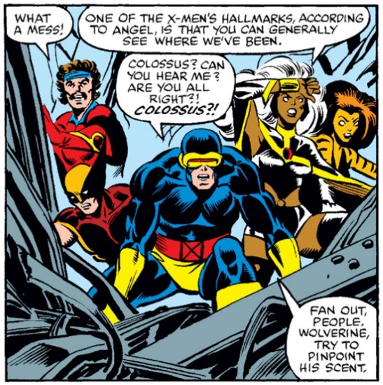 A single, square panel of five superheroes surrounded by a pile of broken steel beams. One says, 'What a mess!' Another replies, 'One of the X-Men's hallmarks, according to Angel, is that you can generally see where we've been.' Another says, 'Colossus? Can you hear me? Are you all right?! Colossus?! Fan out, people. Wolverine, try to pinpoint his scent.'