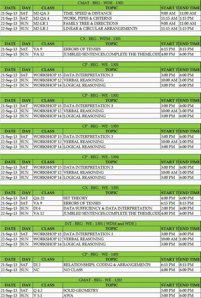 IMS BEGUMPET: SCHEDULE FROM 21ST SEP ' 13 TO 22ND SEP  '13
