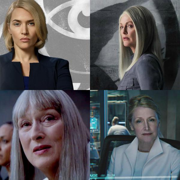 Na imagem: Montagem com quatro mulheres que tem posição de poder em filmes. A primeira é Jeanine de Divergente (loira, com o cabelo curto). A segunda é a Coin de Jogos Vorazes (cabelo de um branco platinado liso longo). Uma de O Doador de Memórias (também cabelo platinado liso longo, mas com franja cortada em cima dos olhos). E outra de Maze Runner (cabelo loiro grisalho liso preso para trás)