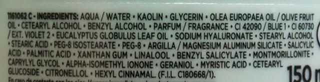 INCI mascarilla tratamiento pre-champú arcilla extraordinaria ingredientes
