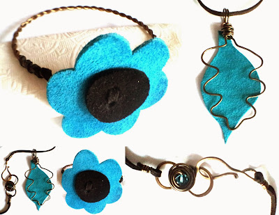 Focus on Life: Happy New Year! The turquoise bloom: leather, antique bronze, Swarovski, ooak bracelet, ooak pendant :: All Pretty Things