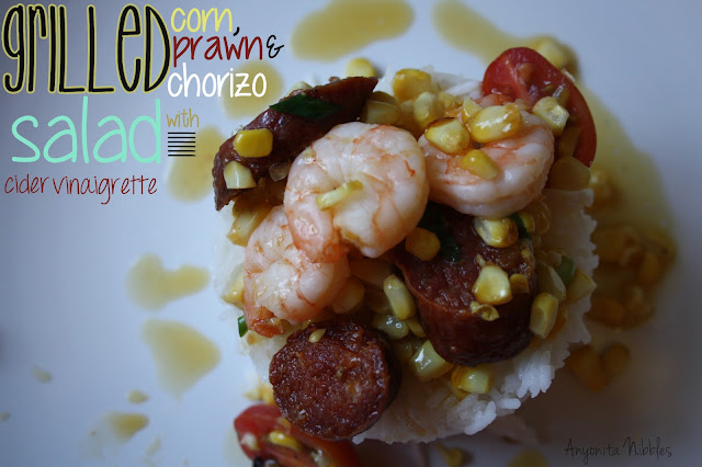 Grileld Corn, Prawn & Chorizo Salad with Cider Vinaigrette