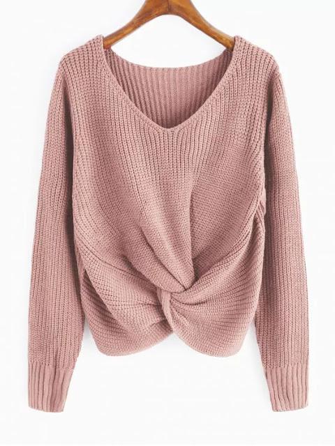 V Neck Twist Chunky Sweater