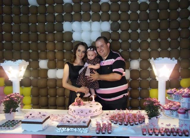 Festa ursinha marrom e rosa