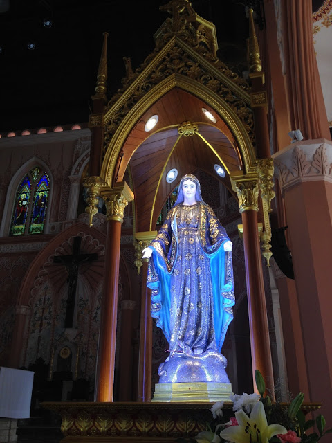 gem-covered statue of the Virgin Mary at Chanthaburi Cathedral