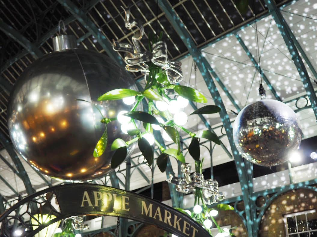 Covent Garden Christmas lights in the market