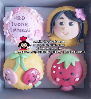 Cupcake Fondant 2d Lucu Tema Makanan
