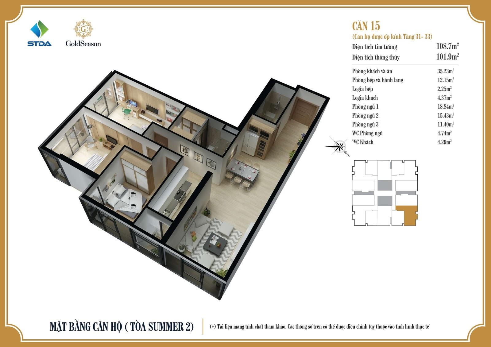 Mặt bằng căn hộ ỐP KÍNH số 03, 06, 10 và 15 diện tích 108,7m2 tầng 31 đến 33 - GoldSeason