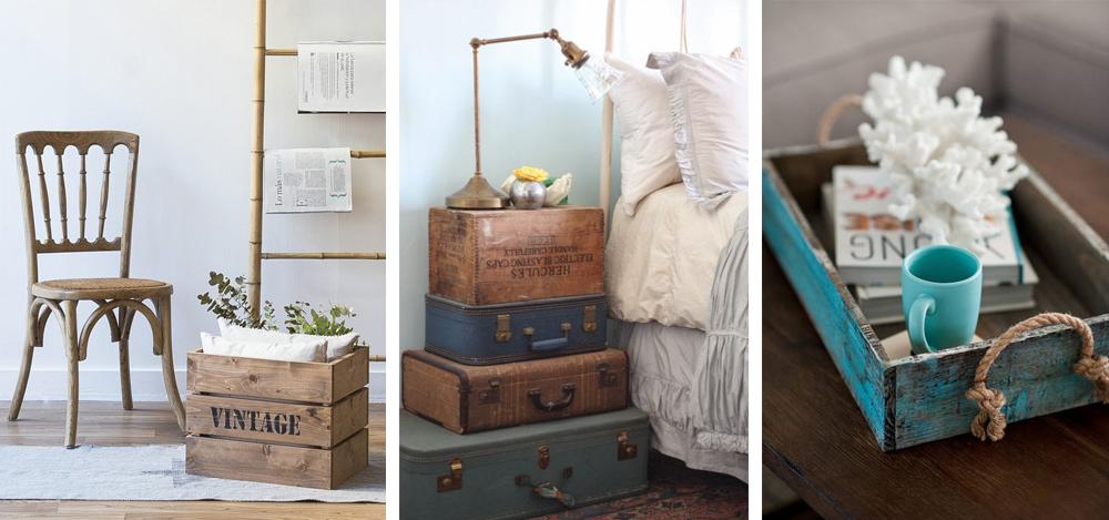 como decorar al estilo vintage con cajas de madera, maletas de cuero