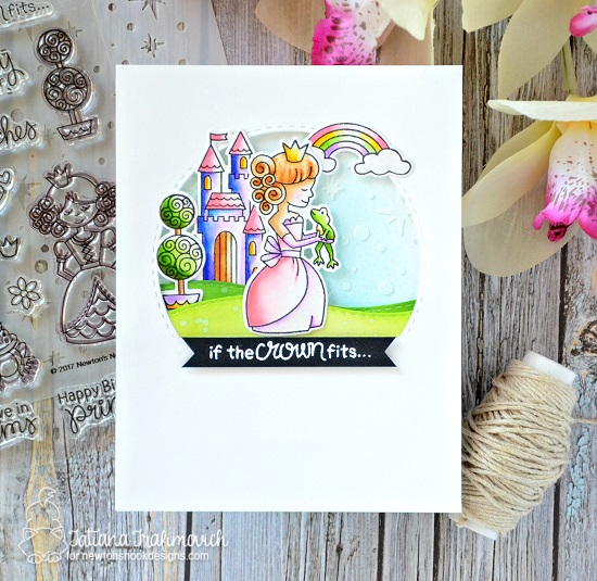 Princess Card by Tatiana Trafimovich | Once Upon a Princess stamp set by Newton's Nook Designs #newtonsnook #princess #handmade