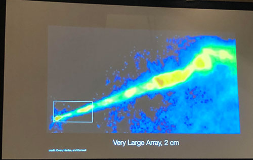 Image of the M87 galaxy with visible jet as seen with the VLA  (Source: Shep Doeleman, EHT Collaboration, April APS Meeting in Denver)