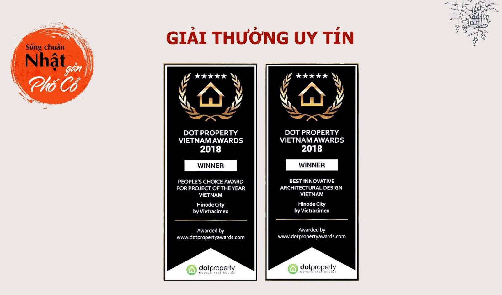 Giải thưởng bất động sản uy tín của Hinode City