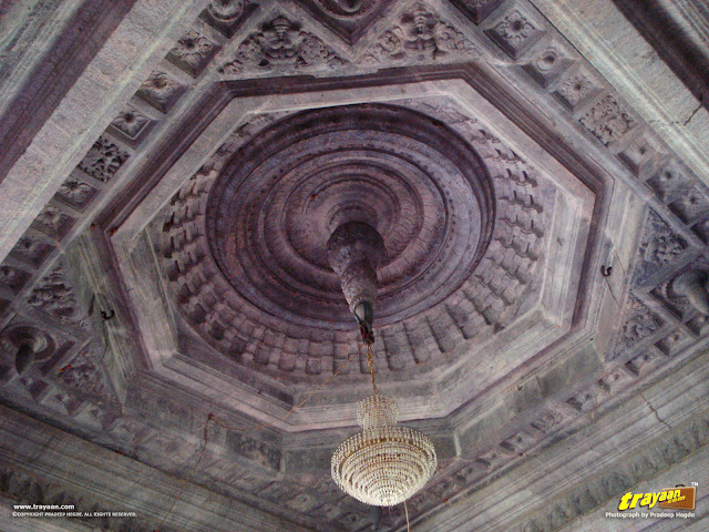 Finely carved and designed cieling, in Thousand Pillared Jain Temple in Moodabidri, near Mangalore, Karnataka, India - called as Tribhuvana Tilaka Chudamani basadi or Chandranatha basadi, also known as Saavira Kambada Basadi