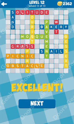 Cheats, Solutions for Level 12 in 13 Word Connect by Second Gear Games