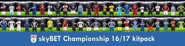 PES 2017 Skybet Championship 2016 17 Full Kits-Pack 9ad45d352