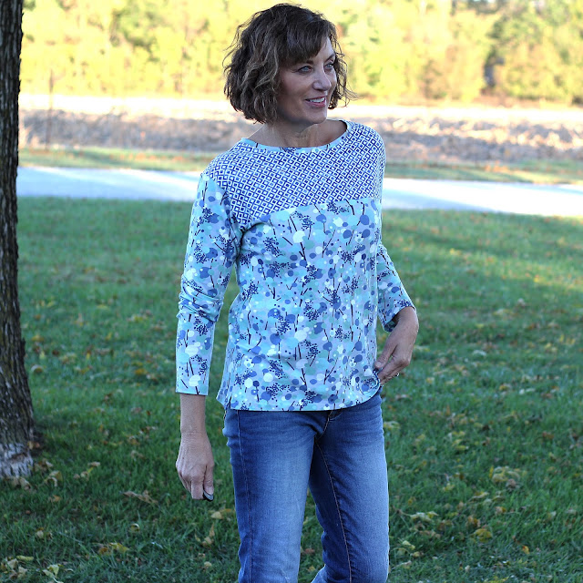 Liesl & Co - Maritime Knit Shirt with a yoke and fabric from Sewing Studio