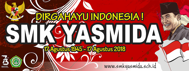 Design Banner 17 Agustus Dirgahayu Republik Indonesia SMK Yasmida