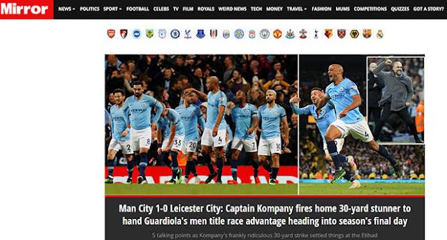 """Man City thắng nhờ """"siêu phẩm thập kỷ"""": Báo Anh đặt cửa vô địch lẫn ăn 3"""