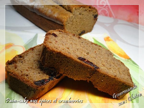 Pain cake aux épices et cranberries sans gluten