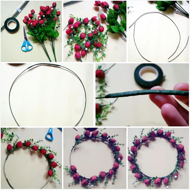 D.I.Y Flower Crown | Cara Mudah Buat Flower Crown Dengan 4 Bahan Sahaja