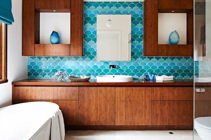 çini fayanslı banyo duvar örneği