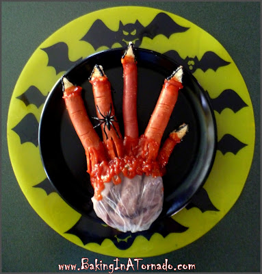 Bloody Fingers Halloween Dinner | http://www.bakinginatornado.com/2015/10/university-of-mom.html | #recipe #Halloween